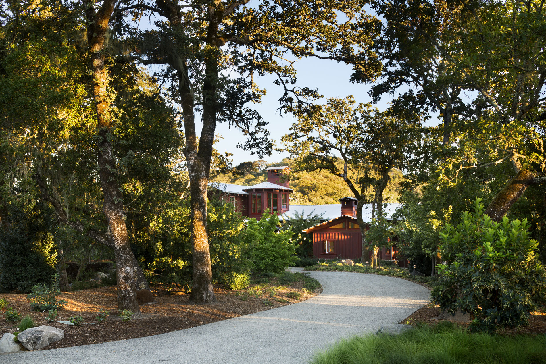 Views to the house become slowly revealed along the entry drive, along which existing trees were preserved and additional ornamental understory plantings added. (Photo credit: Peter Aaron/OTTO for Robert A.M. Stern Architects)