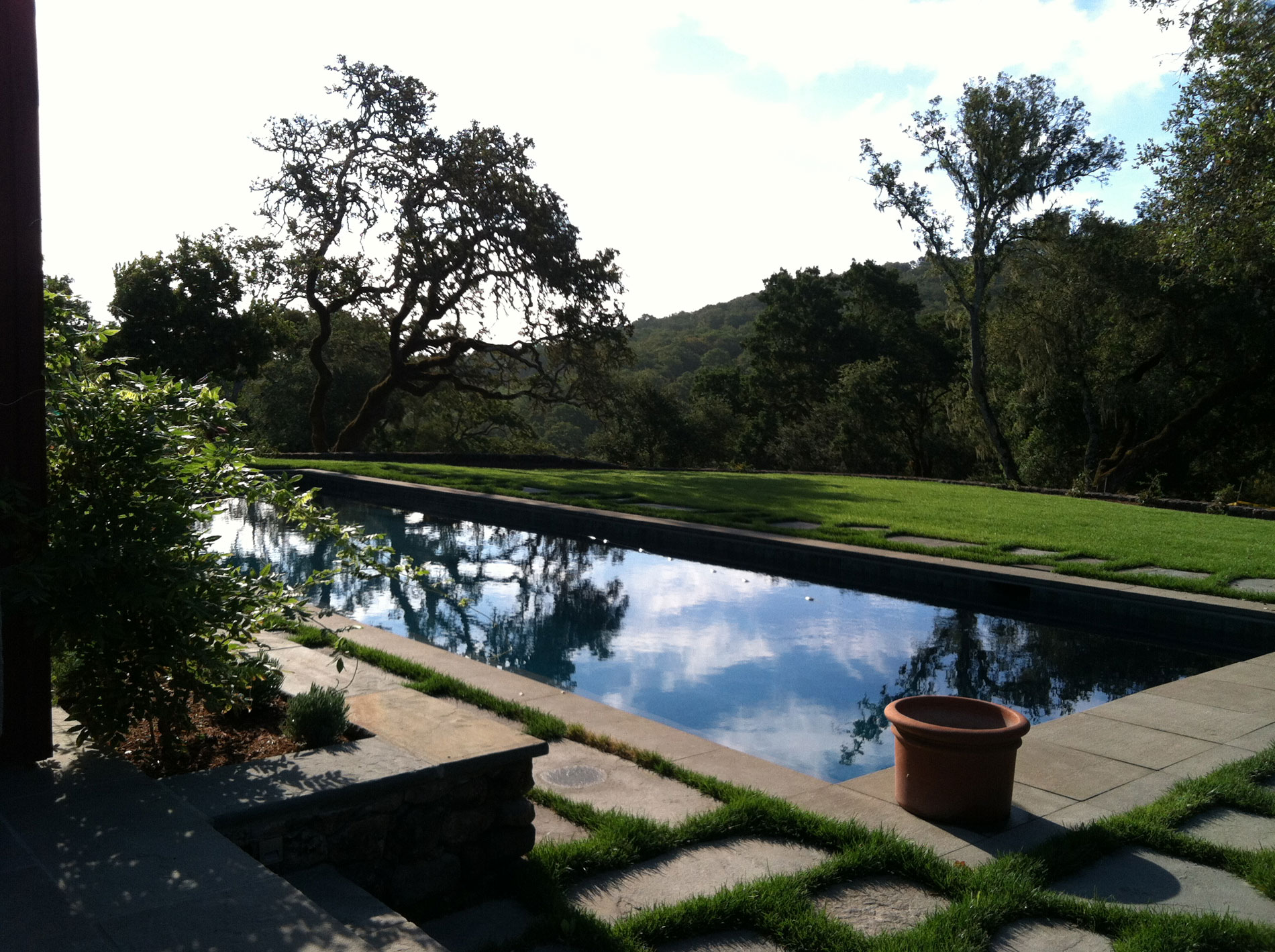View across the pool to the Sonoma hills.
