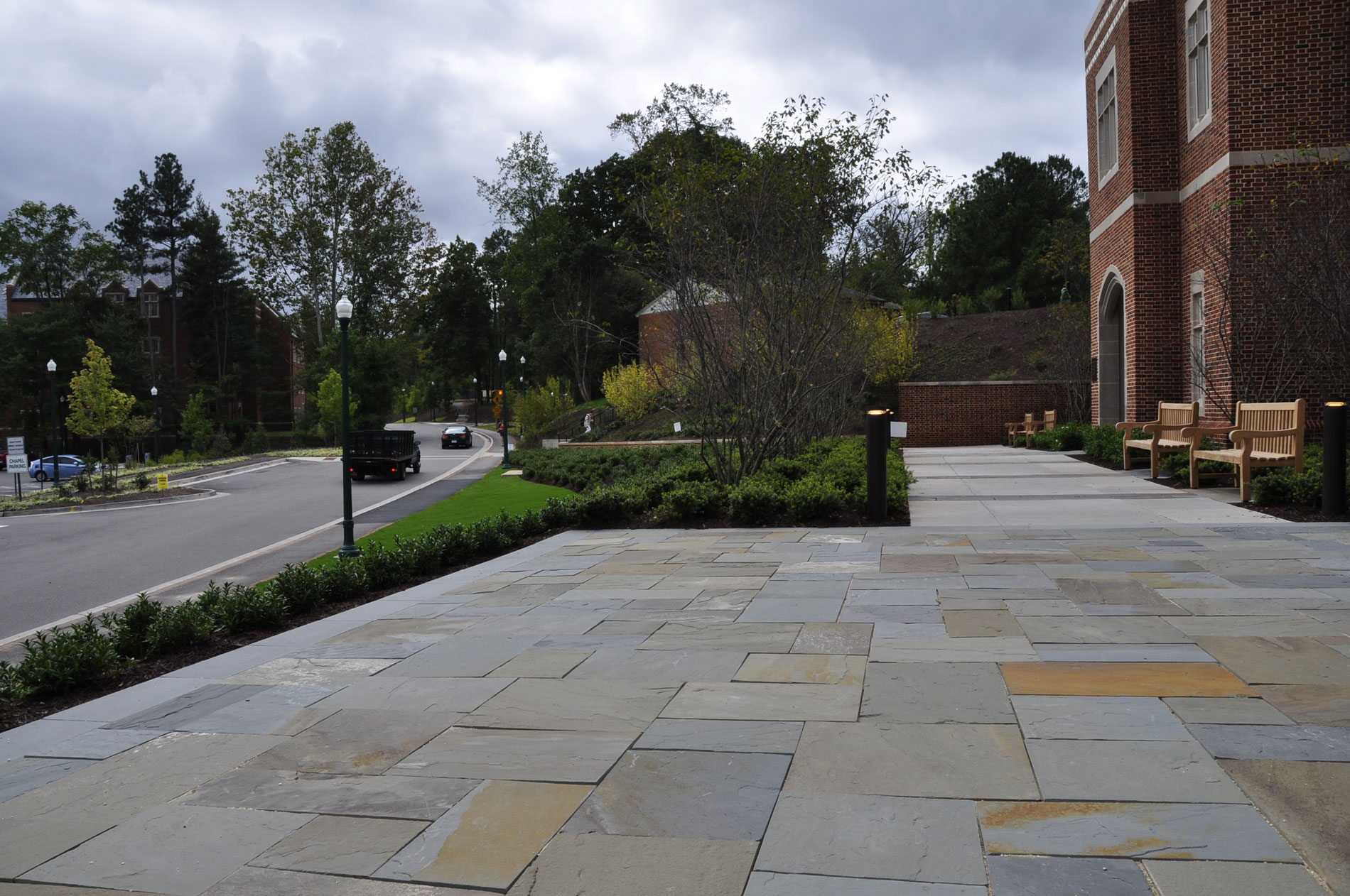 View from the entry plaza back to the hillside garden and along University of Richmond Drive.