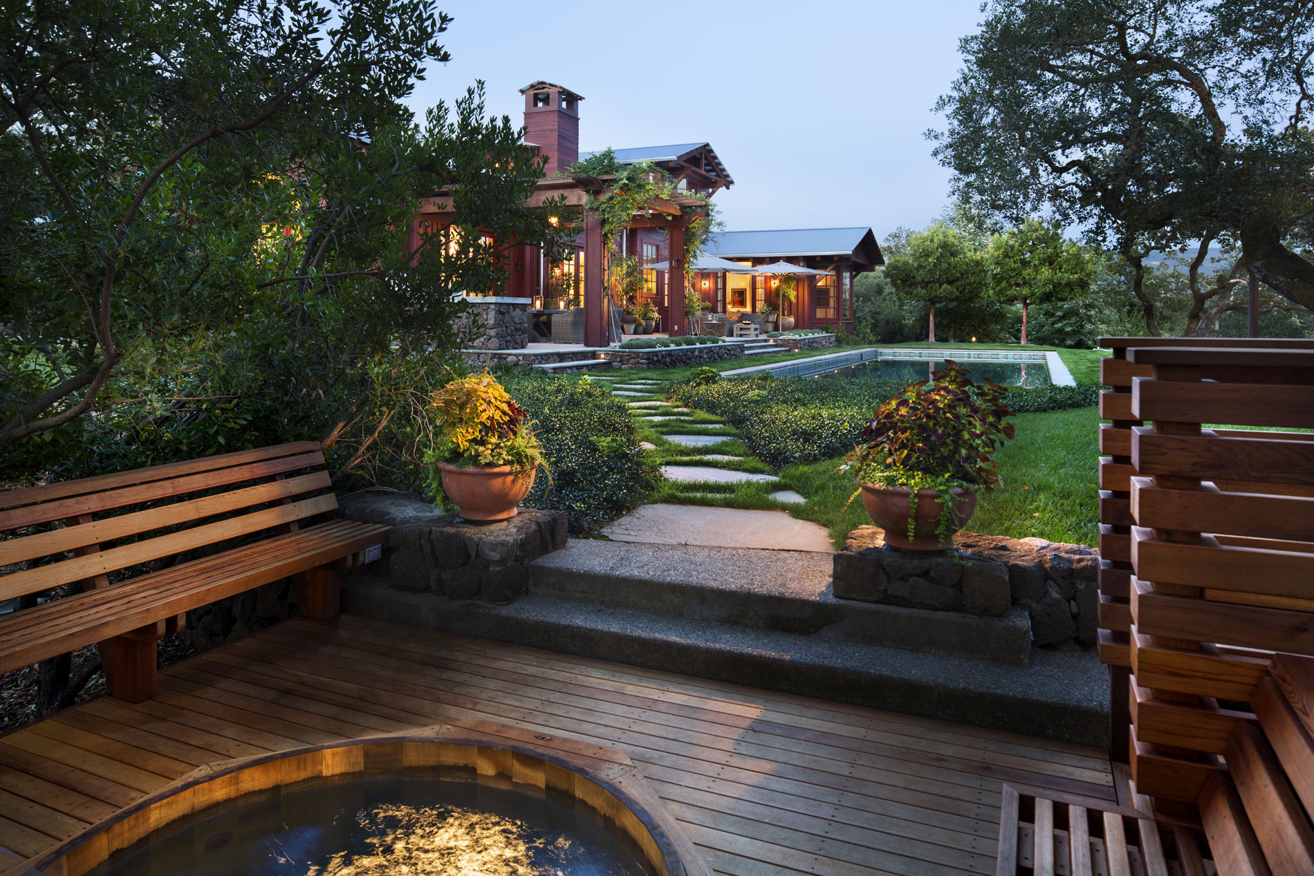 View from the spa to the main house. (Photo credit: Peter Aaron/OTTO for Robert A.M. Stern Architects)
