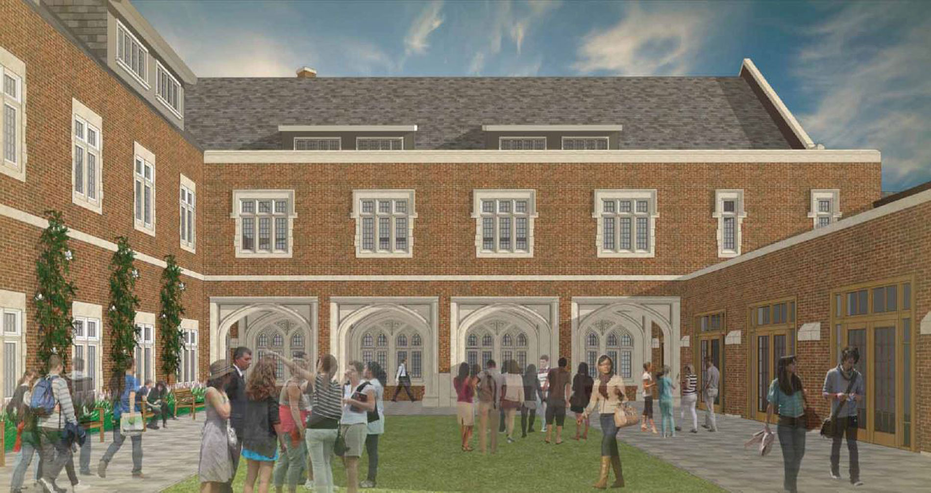 Rendering of the courtyard showing benches and espaliered Magnolias to the left.