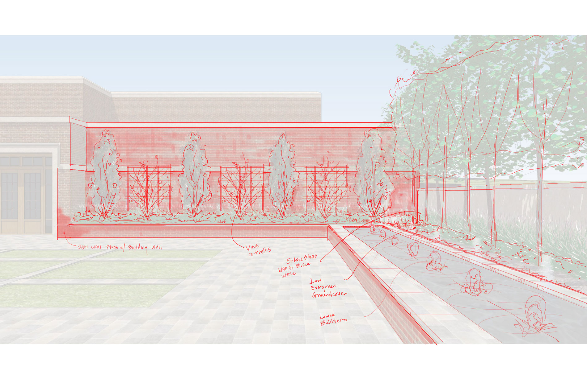 Design sketch from the corner of the courtyard showing fountain and aerial hedge to the right, and espaliered Camellias on the building wall ahead.